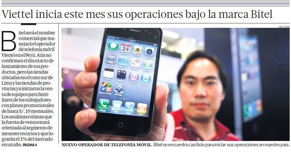 #BUENASNOTICIAS.  El 4to operador móvil del país iniciará operaciones este mes #Bitel http://t.co/xFopGTsfy4