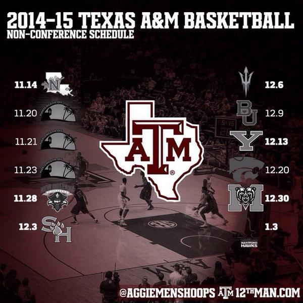 Howdy Ags! Our non-conference schedule is out for the 2014-15 season! #RockReed Credit: @AggieMensHoops