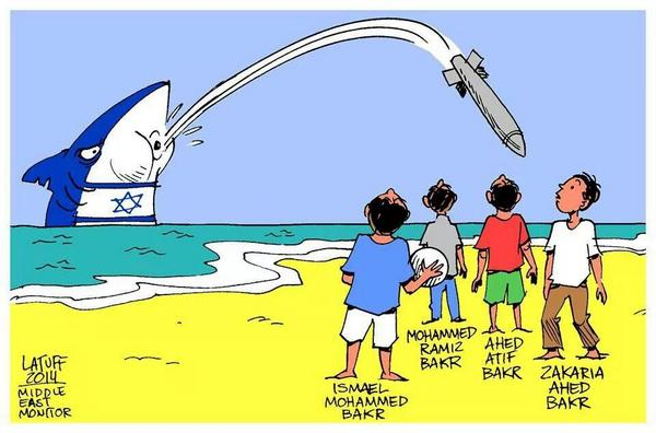 Carlos Latuff's cartoon on #Israeli killing of boys playing #soccer on the beach #PrayForGaza #SaveGaza http://t.co/2lGp7UeRkf