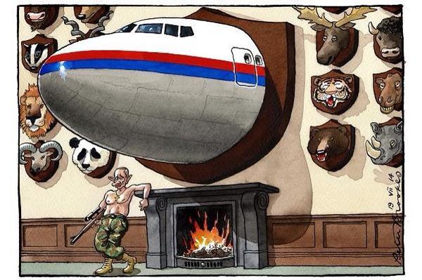 De muur met trofeeën van Vladimir Poetin: http://t.co/yVnchCGcGU (cartoon van @brookestimes)