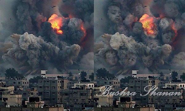 #غزة وأطفالها الذين تصعد أرواحهم إلى السماء فوق دخان المدافع والقنابل. تعبير تصويري مؤلم! http://t.co/g6PR8LCXDs