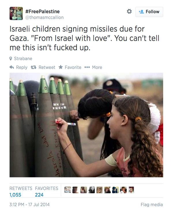 """Israeli kids signs missiles aimed at Palestinians """"From Israel with love"""".  #Gaza  #Israel #IsraeliTerror http://t.co/xTi5xleDbh"""