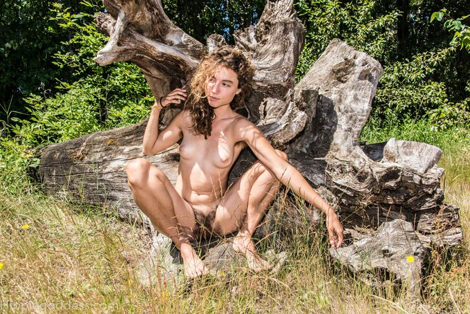 2 pic. my favorite #hirsute goddess!  'Thistle' #hairygirl, #nudebeach. Come see all of her sets at http://t