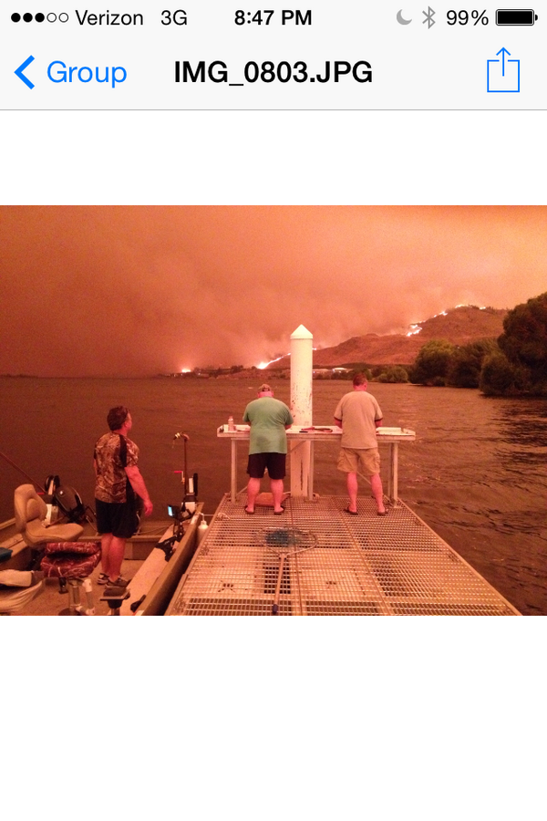 The view from Brewster tonight. Outskirts under LVL 3 EVAC. Photo courtesy #KXLY viewer Nathan Price. http://t.co/a4q9my0wlV