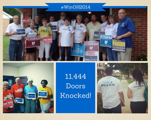 Wow! Thanks to volunteers all around the state, we BEAT our goal and knocked on 11,444 doors last weekend! #WinOH2014 http://t.co/fM3kmFTjhx