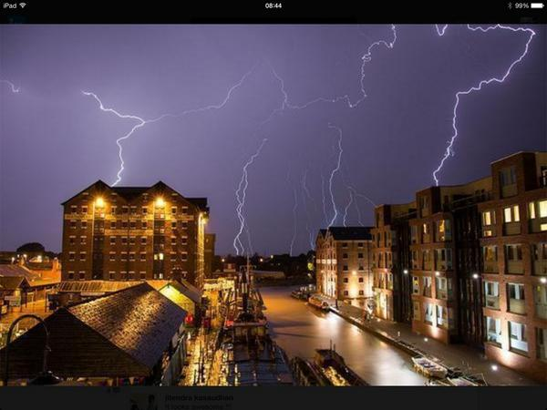 Stunning photo of Gloucester Docks lightening last night @BBCNews http://t.co/cVxQnnbmC7