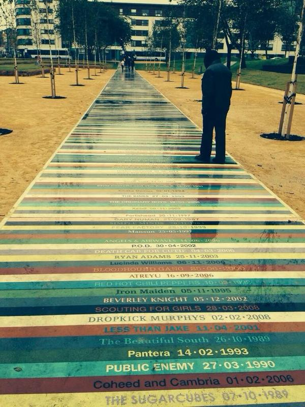 This is superb. A new park opened in Glasgow today featuring a path with every @TheBarrowlands gig since 1983. http://t.co/g2D1xSkdMy