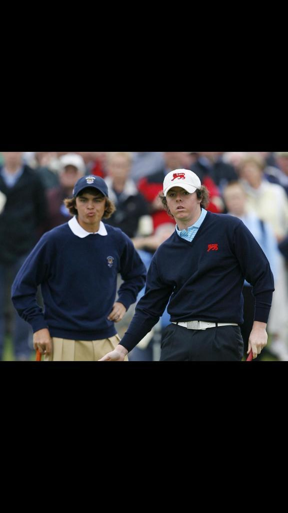 Excellent. From the Walker Cup, not too long ago. Paired tomorrow in final round at Hoylake. http://t.co/2elApODV9l