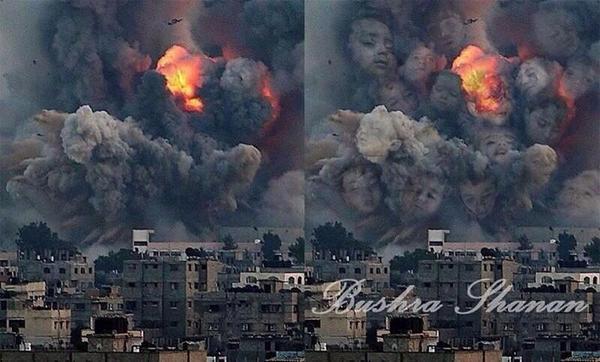 هاشتاق السعودية (@HashKSA): #صورة_ترند.. فنانه فلسطينية تجعل صور التفجيرات تعبر عن ضحاياها الأطفال. #غزة_تحت_القصف http://t.co/kOtZW7OMIJ