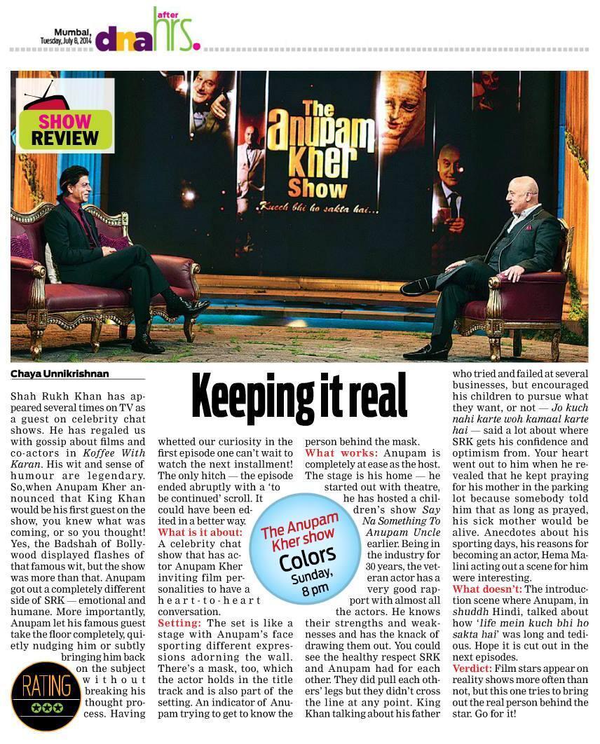 RT @SRKCHENNAIFC: #DNA Report on Shah Rukh Khan's appearance in The Anupam Kher Show. @iamsrk @AnupamPkher @TAKSOnColors http://t.co/REIWst8Q85