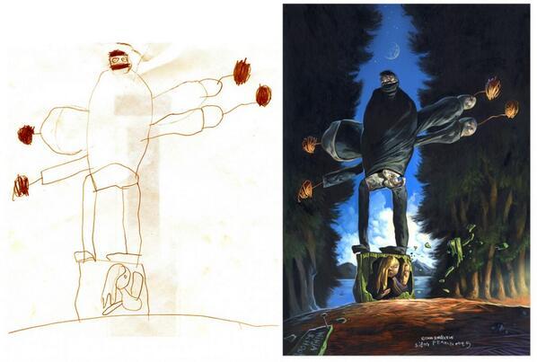 Dibujos hechos por niños y traducidos por artistas http://t.co/H38rwCjHV2 http://t.co/NUe1uCebug