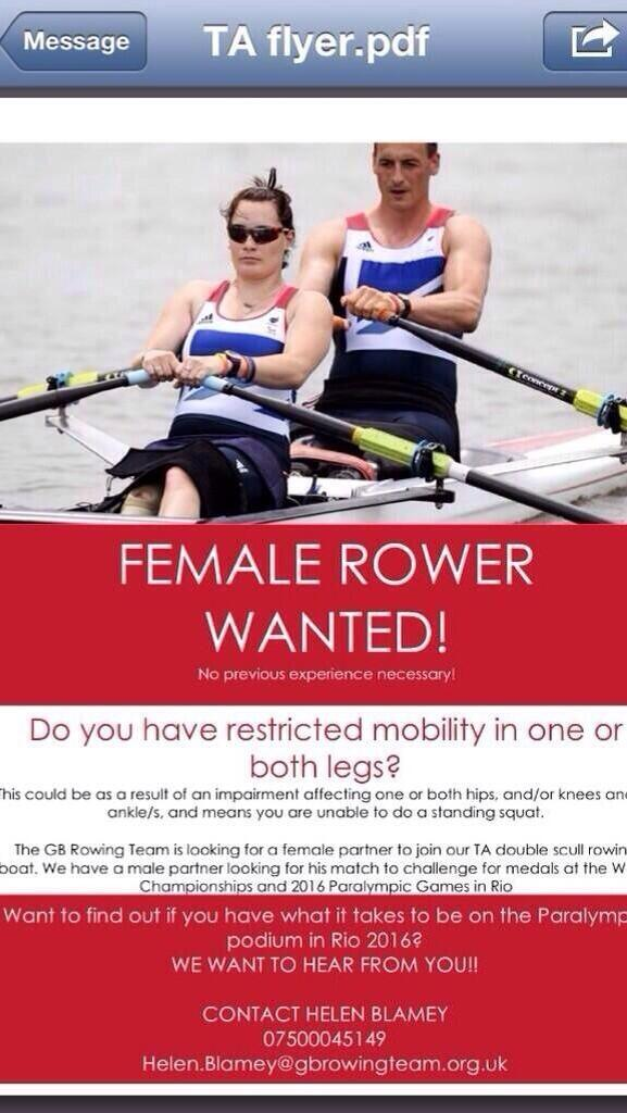 @HelpforHeroes Please retweet to help us find a much-needed female TA (Truck and arms only) para-rower for GB squad. http://t.co/cywAEi8X44