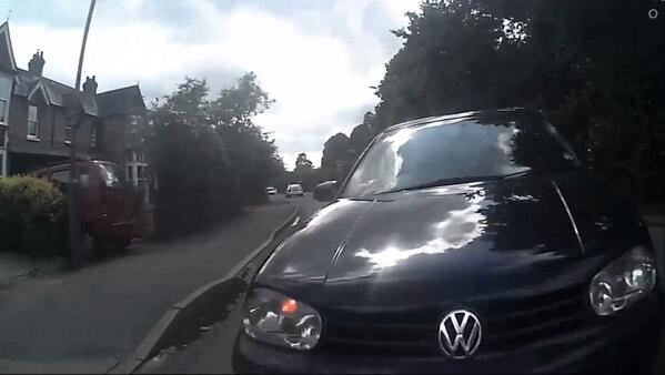 Video: What's it like to be hit head-on by a car? Like this #cycling Any leads @TVP_Slough ?