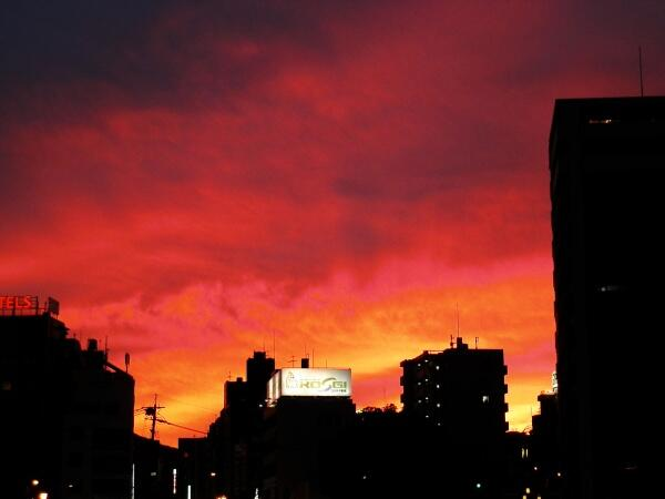 36.7℃まで気温が上がった今日の熊本市。夜が訪れる間際にも空が燃え上がりました。 http://t.co/MsLn4LIvE5