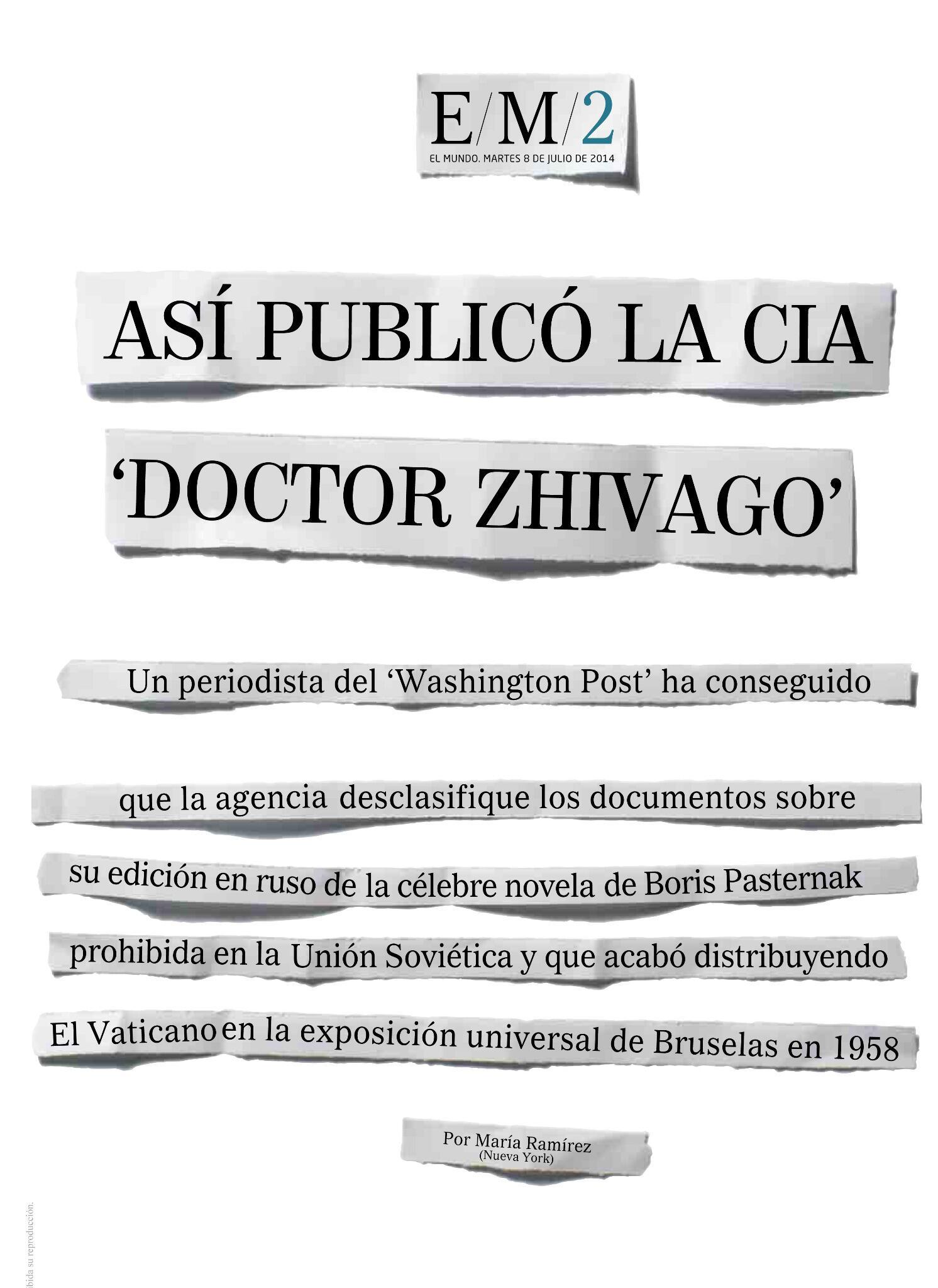 Así ha puesto en página el tema de la CIA y 'Doctor Zhivago' el equipo de Diseño en el papel y @elmundo_orbyt http://t.co/ENQFCyj1ra