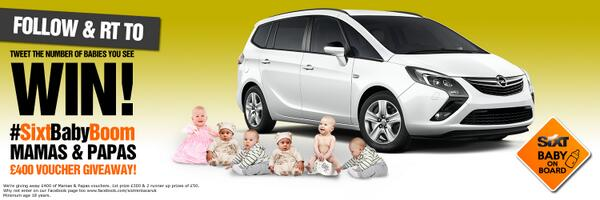 #WIN! £400 of Mamas & Papas Vouchers. Follow @SixtUK and RT. Tweet how many babies you see on the photo #SixtBabyBoom http://t.co/6JMIWJ95sH