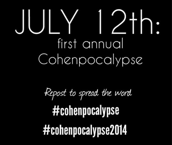 """#SPNFamily Spread the Word! #Cohenpocalypse this Saturday! """"@mattcohen4real: http://t.co/8DThFHEMGm"""" RT #supernatural #spn"""