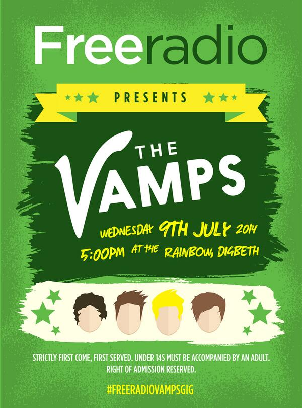See @TheVampsBand tomorrow at The Rainbow in Birmingham! All for free!  #FreeRadioVampsGig http://t.co/vSyYCnOAsG