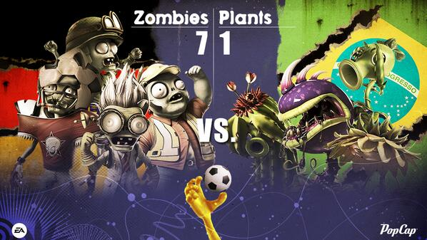 Plants vs. Zombies (@PlantsvsZombies): #PvZGW A triumphant day for #TeamGermany and the Zombies. A sad day for #TeamBrazil and the Plants. #WorldCup2014 http://t.co/80DfUKobb8