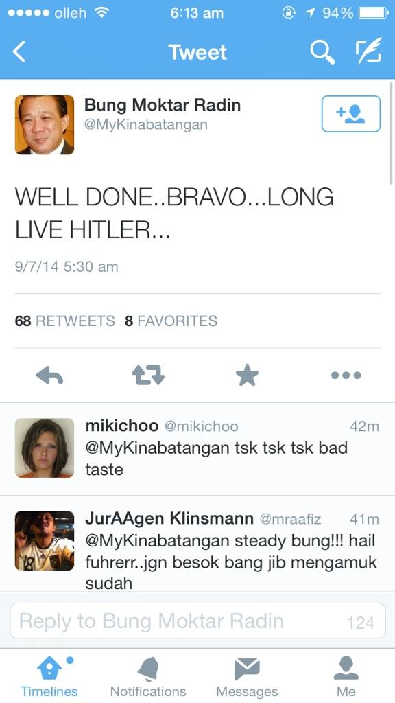 "Mentality of Malaysian Member of Parliament: he actually tweeted ""long live hitler"" - https://t.co/haGe2ae88M http://t.co/WP7yr6lwrN"