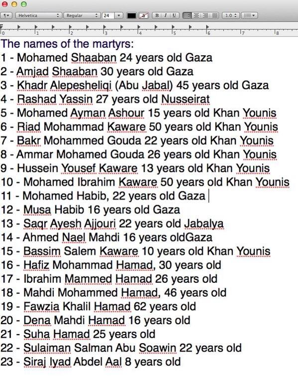 Names of martyrs of yesterday's Israel's vicious aggression over Gaza #GazaUnderAtrack http://t.co/x36oXUWL4z