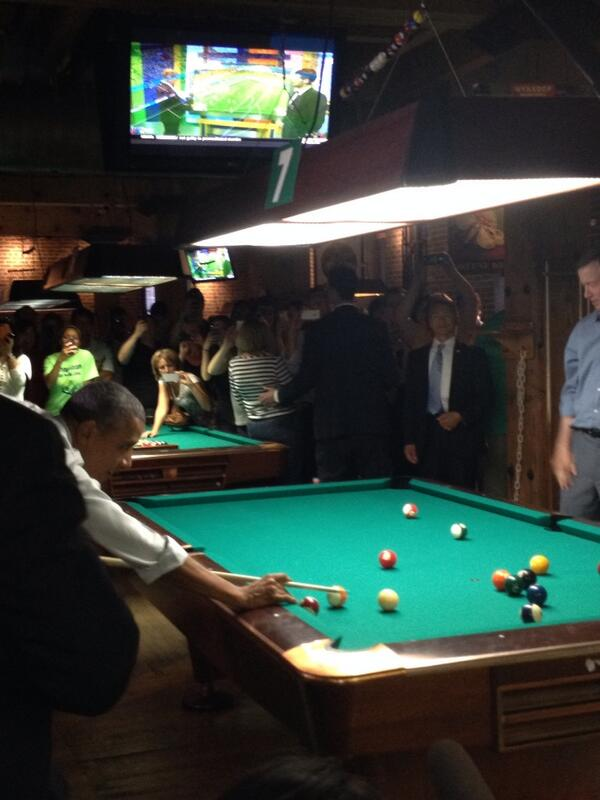 """In today's episode of """"Obama On The Loose"""", he drinks a beer and plays pool... http://t.co/oTxSvIp8AR"""