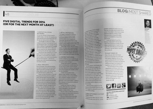 RT @grantpat: Just received a copy of @MarketingMag and was lucky enough to be featured. #marketing #digital #thanks http://t.co/Ol3jFrQWUg