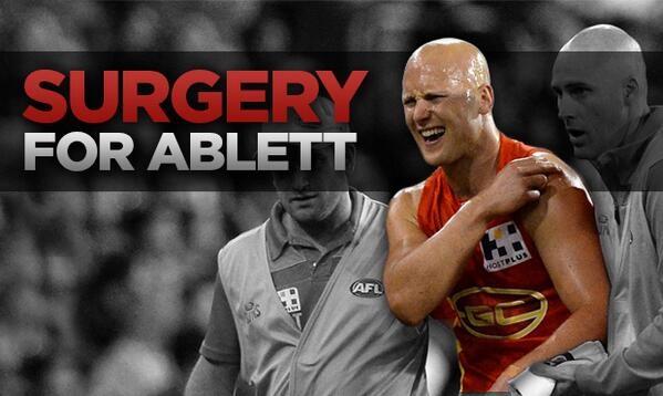 BREAKING NEWS: Gary Ablett to undergo surgery to repair his left shoulder. More: http://t.co/rjhyHWaCdO http://t.co/amu8P0TvJA