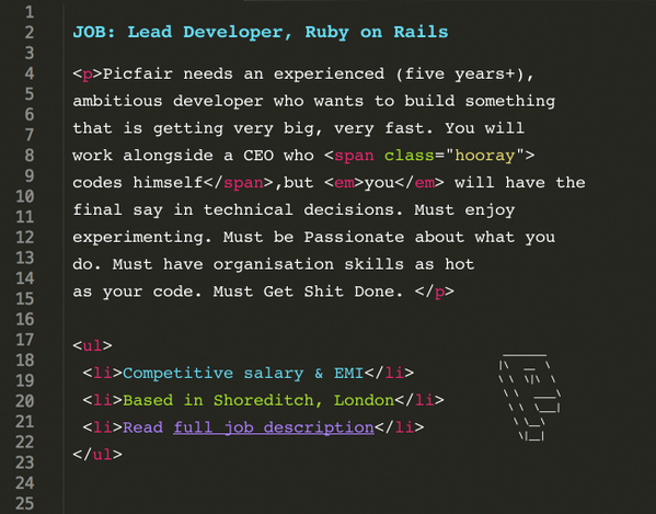 .@Picfair is hiring: We're looking for a Lead Ruby Developer. Please share this around! https://t.co/R5xREQrnHq http://t.co/nnAgiZrq3e