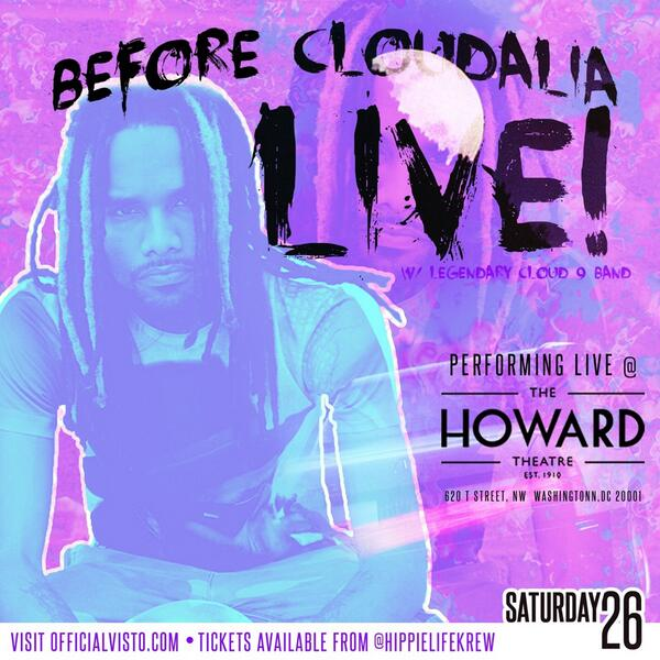 #beforecloudalialive @VistoHLK headlines the Howard theater July 26th! Hit him for tickets! 20$ http://t.co/fIImtbpXti