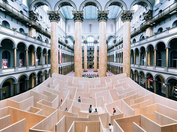 A life-size indoor maze designed by Bjarke Ingels Group has opened at the National Building Museum in Washington DC. http://t.co/kvfhs0O7W0