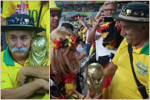 "The old Brazilian fan with the World Cup trophy apparently gave it to a German fan. ""Take it to the final!"" http://t.co/pcYp25jMDS"