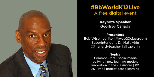Geoffrey Canada will keynote #BbWorldK12Live on July 18. Sign up for this free, digital event: http://t.co/BTl51y2gnS http://t.co/WJTzxEtXBd