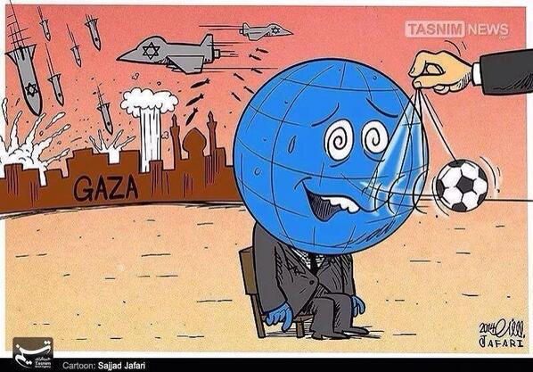 An apt cartoon comment on #GazaUnderAttack and the #FIFA World Cup 2014 - via @marziahassanTO http://t.co/ktzTwppf04