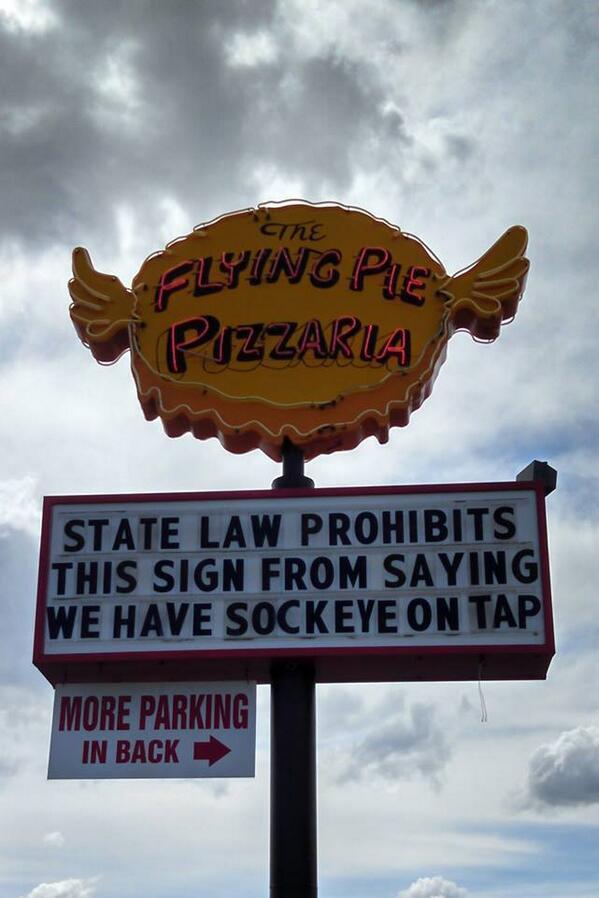 Ha! I love @FlyingPiePizza #StickItToTheMan #IdahosSillyLiquorLaws http://t.co/h6eU6rMtqc