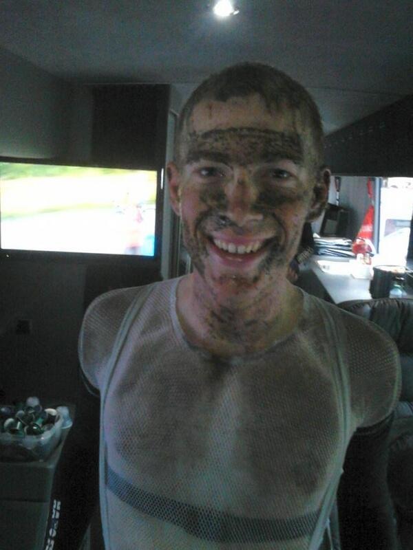 Today was epic. Here's @andrewtalansky on the bus after the stage. Photo: @BisoBus #TDF http://t.co/m4t3O96mGG