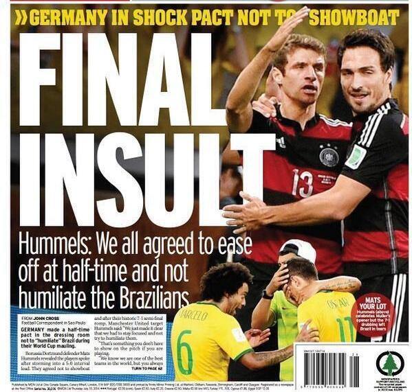 "Ouch... RT @DebSpillane: Hummels: ""We all agreed to ease off at h/time & not humiliate the Brazilians"" #BRA #GER http://t.co/cTdEauqfB2"