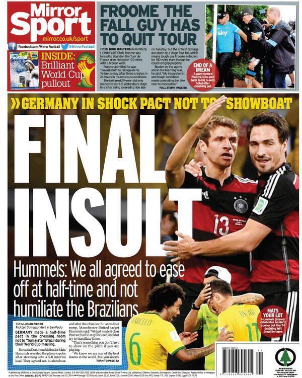 هوملز : إتفقنا بين الشوطين ان نخفف الأمر على #البرازيل وان لا يتم إذلالهم http://t.co/KwmqKNtwxS