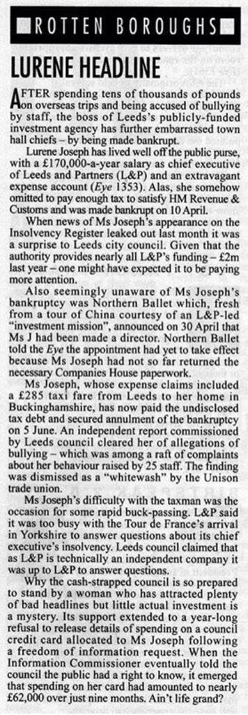 We're sure this article in Private Eye can't be right about the chief at Leeds and Partners. http://t.co/n3GaTMSZlw