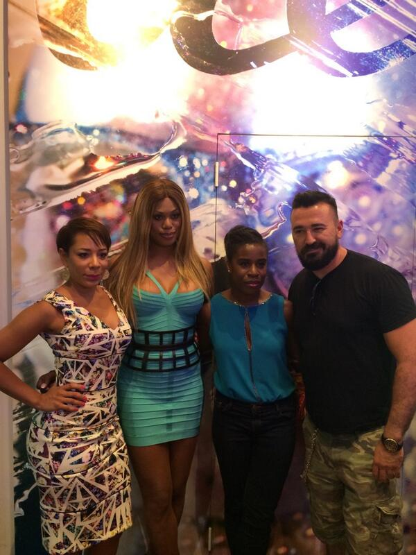 Me with the ladies @selenis_leyva @Lavernecox @UzoAduba of @OITNB! Love you three for supporting @Kiehls tonight! http://t.co/MvSps0FiOs