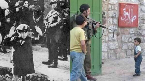 A picture worth a thousand words. On the left - Nazi Germany, on the right - Apartheid Israel. #Gaza #FoodForThought http://t.co/ey6p2QBSTv