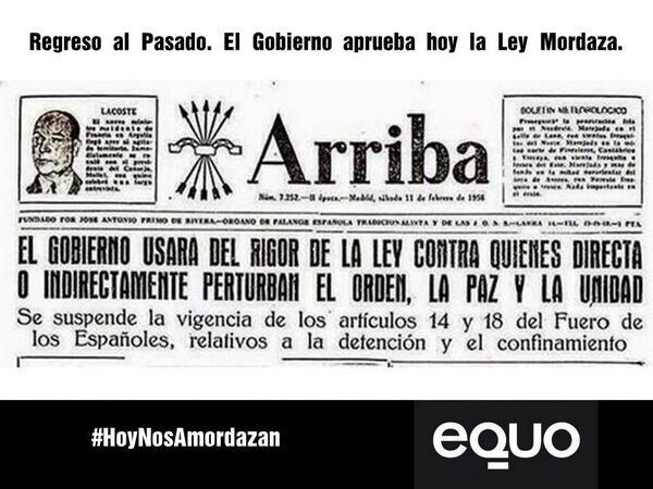 Hoy el PP aprobará Ley Mordaza que restringe tus libertades más esenciales. @Equo está en contra. #HoyNosAmordazan http://t.co/q1shy5Q54M