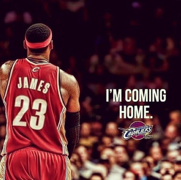 #LeBron is headed #BackToCleveland and #Cavs fans will welcome him w/ open arms. #ReturnOfTheKing http://t.co/q0kXpC0cd2