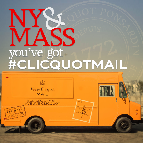 NY & MA: You've got #ClicquotMail! Follow us to find out when our Clicquot-hued mail truck makes a delivery near you. http://t.co/52IINelBYN