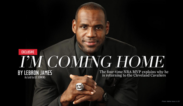 BREAKING NEWS: LeBron James: I'm ready to accept the challenge. I'm coming home.  Read: http://t.co/y8Jlxu3emW http://t.co/aOHMfe293j