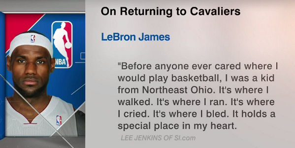 LeBron tells @SInow why he is returning to Cleveland. http://t.co/2nTBLfS1UH