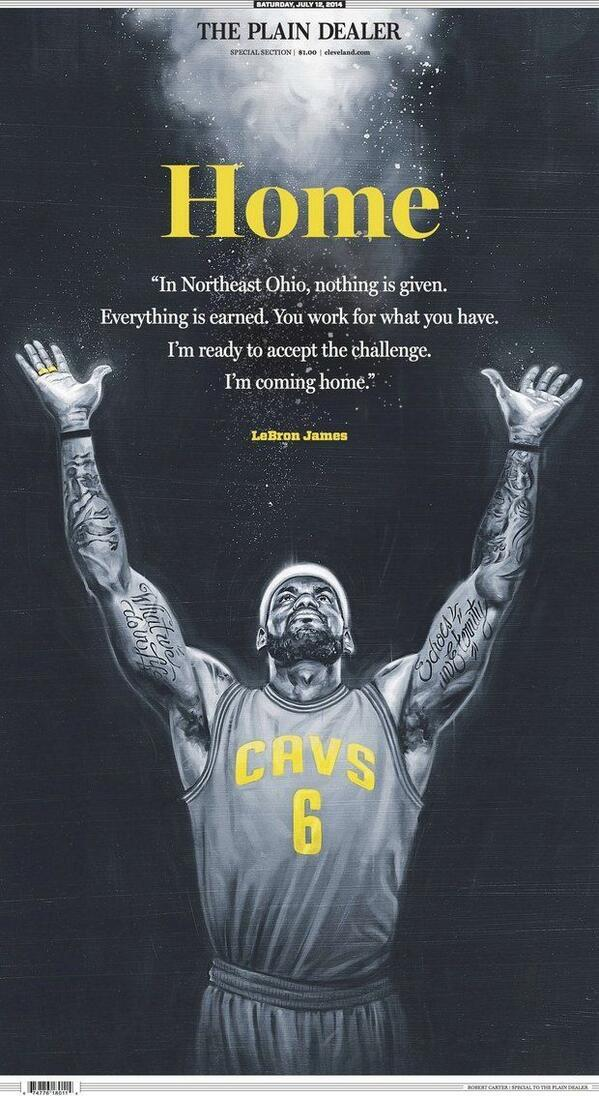 Amazing. Cleveland Plain-Dealer prints a special section to welcome back Basketball Jesus, um, LeBron James. http://t.co/C9fHptcmh0