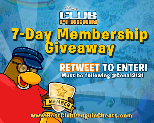 Free 7-Day Club Penguin Membership! RETWEET TO ENTER! Must be following, ends tomorrow! http://t.co/XIv8g3f5vs http://t.co/kzRW31nETo