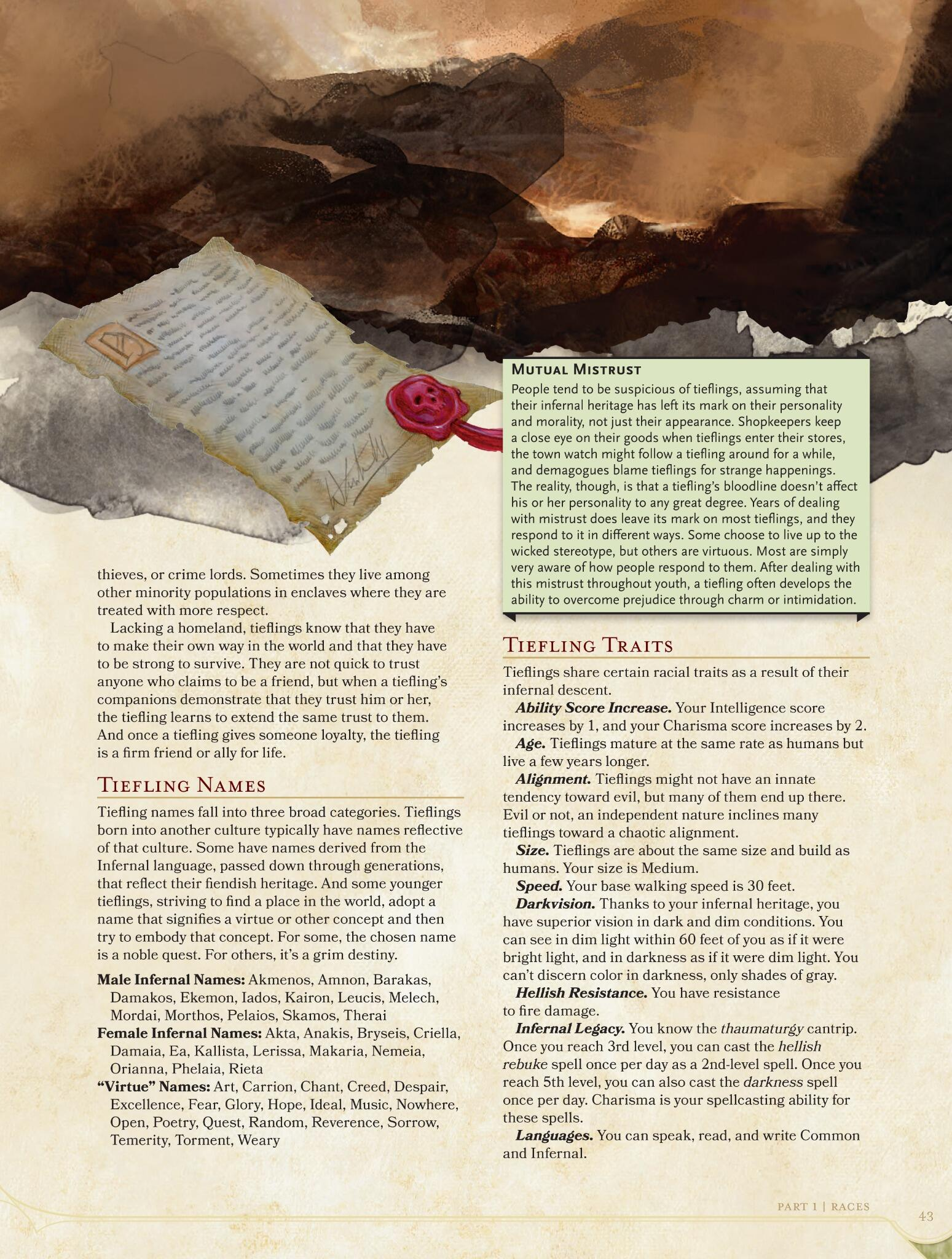 You deserve it - here's the second page of the tiefling entry in the new #DnD Player's Handbook! http://t.co/LLUUC912KK