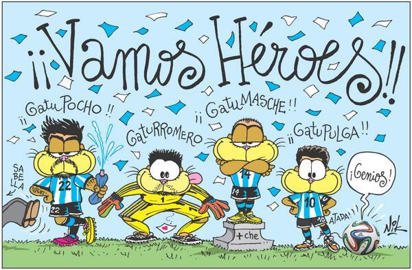 Vamos Héroes el Domingo!!! El finde sorteamos este dibujo del Mundial enmarcado!! Con RT ya participás!! Vamos #ARG!! http://t.co/Y7H9WWRaBM